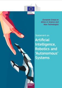 cover of the EU statement on ethics of AI