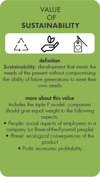 Card on the value of sustainability