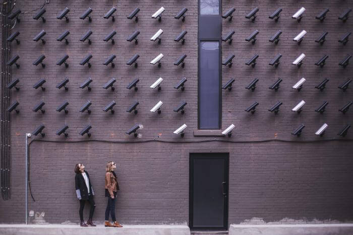 privacy in the digital world? Lots of security camera's on a building